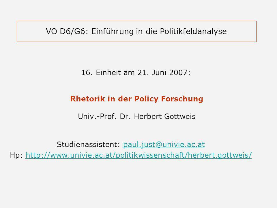 VO D6/G6: Einführung in die Politikfeldanalyse 16.