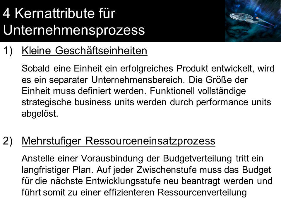 4 Kernattribute für Unternehmensprozess 1)Kleine Geschäftseinheiten Sobald eine Einheit ein erfolgreiches Produkt entwickelt, wird es ein separater Un