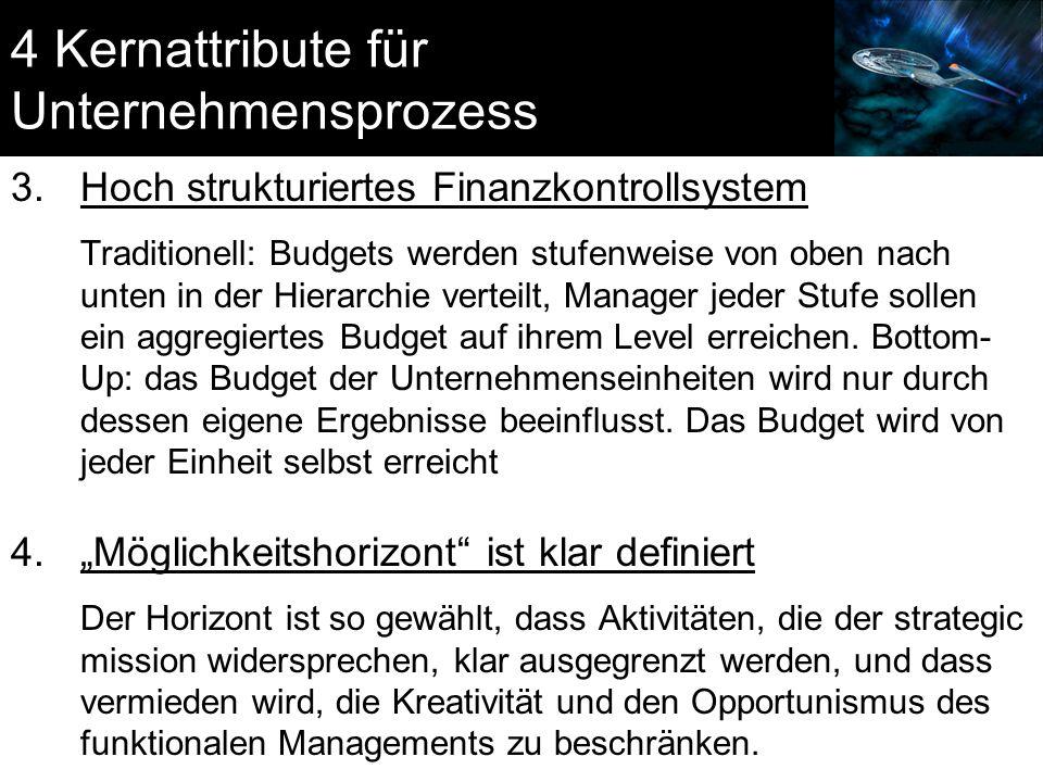 4 Kernattribute für Unternehmensprozess 3.Hoch strukturiertes Finanzkontrollsystem Traditionell: Budgets werden stufenweise von oben nach unten in der