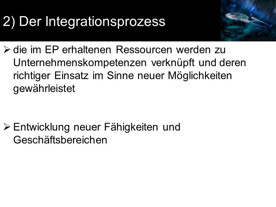 2) Der Integrationsprozess  die im EP erhaltenen Ressourcen werden zu Unternehmenskompetenzen verknüpft und deren richtiger Einsatz im Sinne neuer Mö