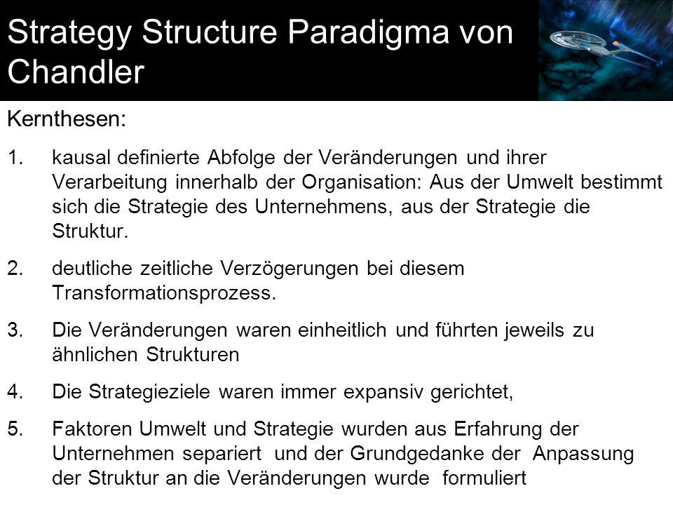 Strategy Structure Paradigma von Chandler Kernthesen: 1.kausal definierte Abfolge der Veränderungen und ihrer Verarbeitung innerhalb der Organisation: Aus der Umwelt bestimmt sich die Strategie des Unternehmens, aus der Strategie die Struktur.