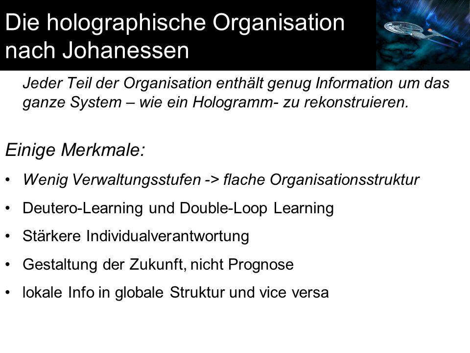Die holographische Organisation nach Johanessen Jeder Teil der Organisation enthält genug Information um das ganze System – wie ein Hologramm- zu reko