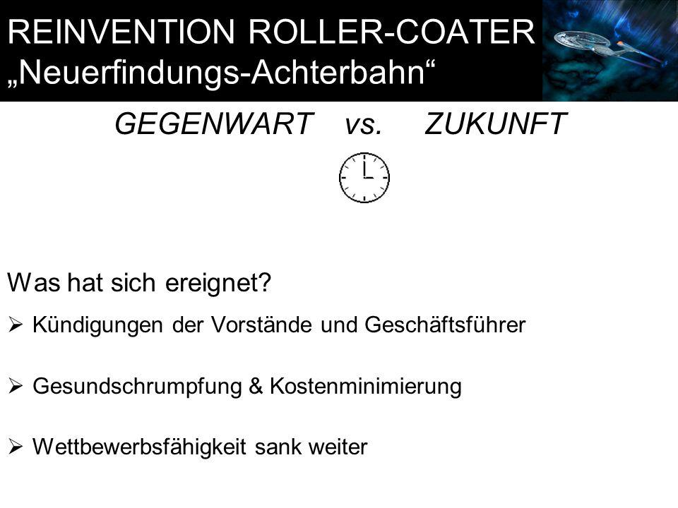 """REINVENTION ROLLER-COATER """"Neuerfindungs-Achterbahn"""" GEGENWART vs. ZUKUNFT Was hat sich ereignet?  Kündigungen der Vorstände und Geschäftsführer  Ge"""
