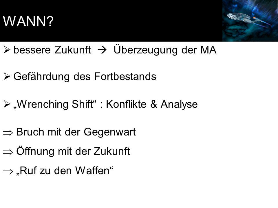 """WANN?  bessere Zukunft  Überzeugung der MA  Gefährdung des Fortbestands  """"Wrenching Shift"""" : Konflikte & Analyse  Bruch mit der Gegenwart  Öffnu"""