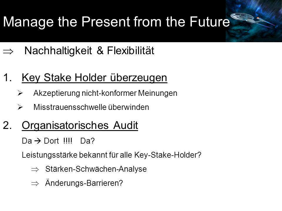 Manage the Present from the Future  Nachhaltigkeit & Flexibilität 1.Key Stake Holder überzeugen  Akzeptierung nicht-konformer Meinungen  Misstrauensschwelle überwinden 2.Organisatorisches Audit Da  Dort !!!.
