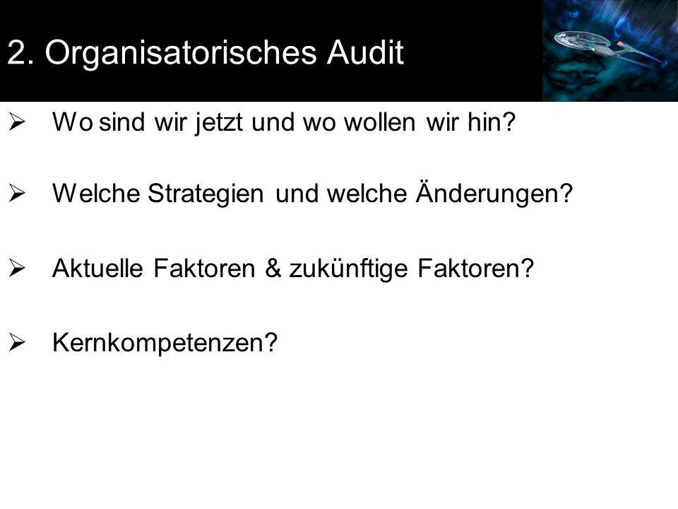 2. Organisatorisches Audit  Wo sind wir jetzt und wo wollen wir hin?  Welche Strategien und welche Änderungen?  Aktuelle Faktoren & zukünftige Fakt