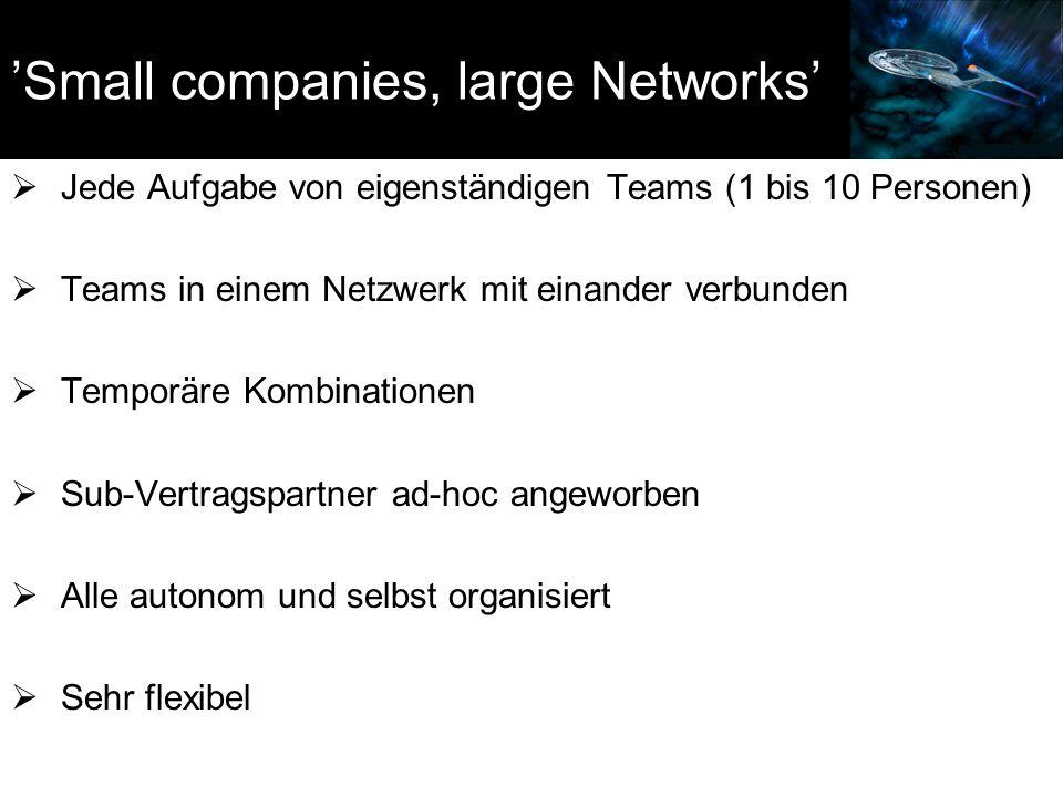 'Small companies, large Networks'  Jede Aufgabe von eigenständigen Teams (1 bis 10 Personen)  Teams in einem Netzwerk mit einander verbunden  Tempo