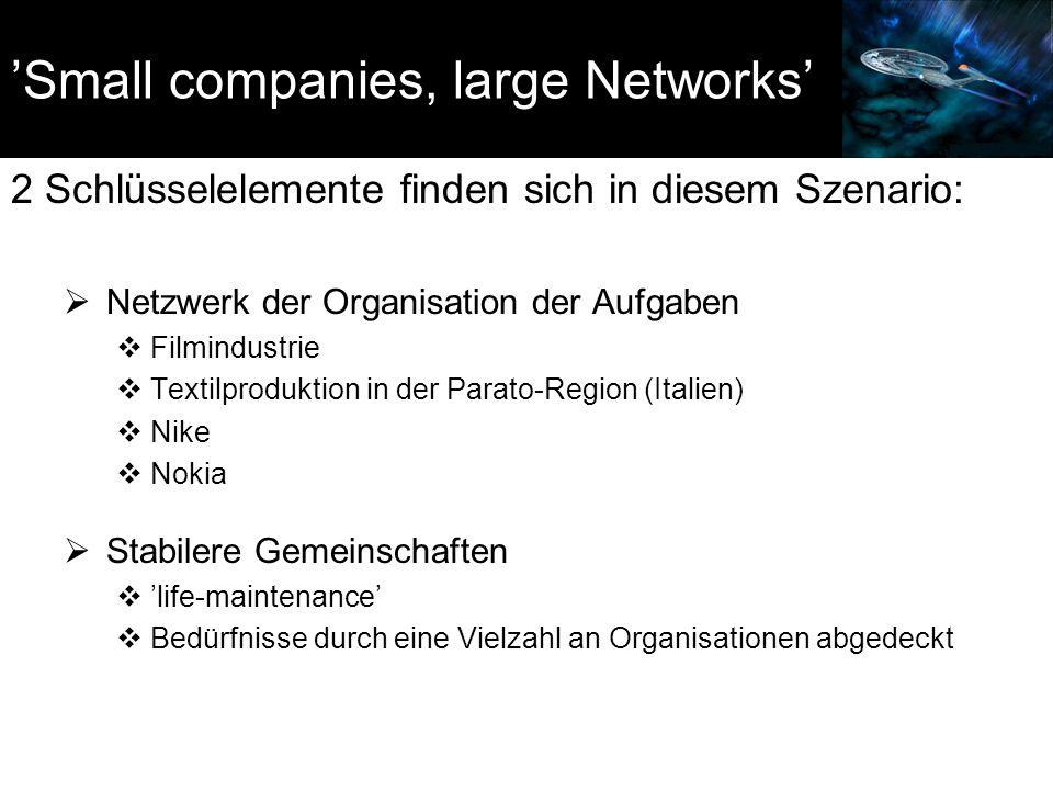 'Small companies, large Networks' 2 Schlüsselelemente finden sich in diesem Szenario:  Netzwerk der Organisation der Aufgaben  Filmindustrie  Textilproduktion in der Parato-Region (Italien)  Nike  Nokia  Stabilere Gemeinschaften  'life-maintenance'  Bedürfnisse durch eine Vielzahl an Organisationen abgedeckt