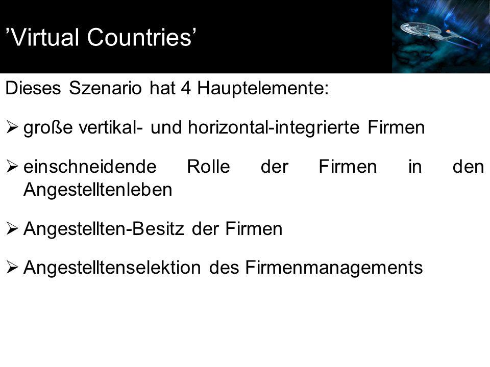 'Virtual Countries' Dieses Szenario hat 4 Hauptelemente:  große vertikal- und horizontal-integrierte Firmen  einschneidende Rolle der Firmen in den Angestelltenleben  Angestellten-Besitz der Firmen  Angestelltenselektion des Firmenmanagements