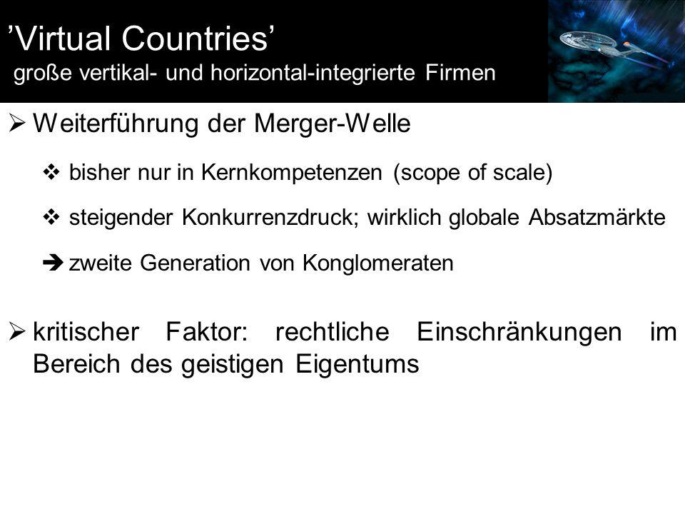 'Virtual Countries' große vertikal- und horizontal-integrierte Firmen  Weiterführung der Merger-Welle  bisher nur in Kernkompetenzen (scope of scale