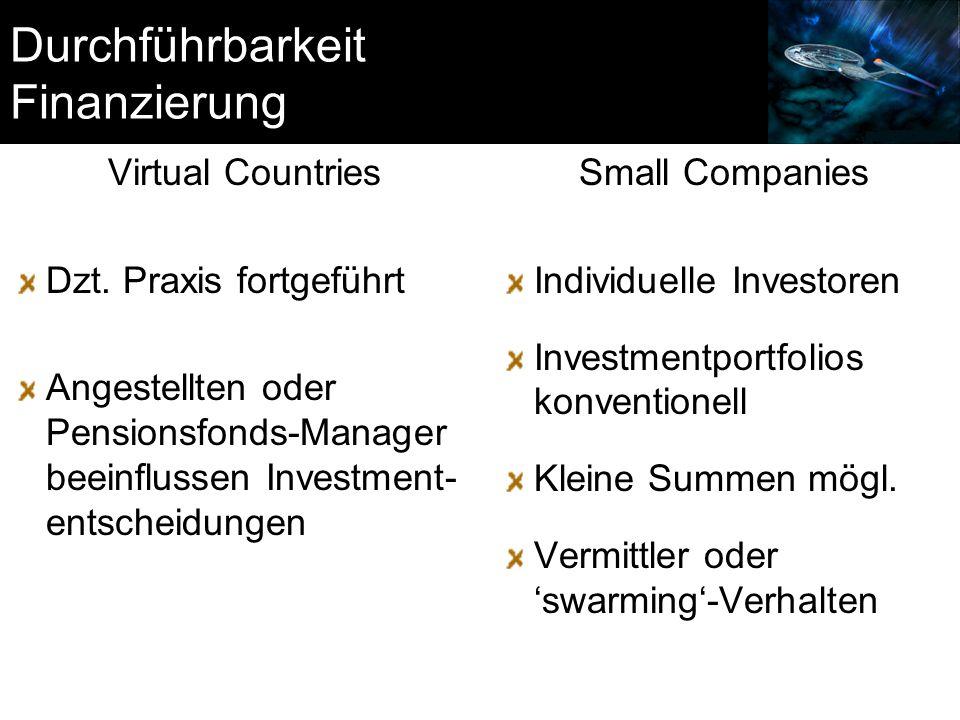 Durchführbarkeit Finanzierung Virtual Countries Dzt. Praxis fortgeführt Angestellten oder Pensionsfonds-Manager beeinflussen Investment- entscheidunge