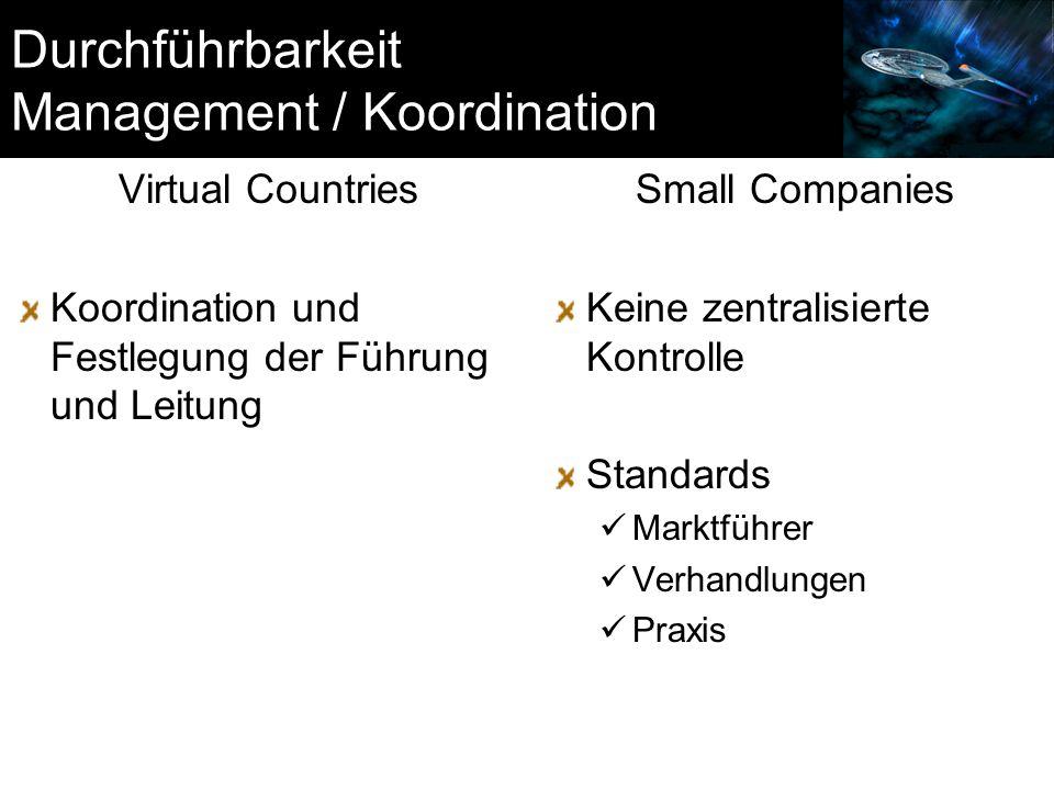 Durchführbarkeit Management / Koordination Virtual Countries Koordination und Festlegung der Führung und Leitung Small Companies Keine zentralisierte Kontrolle Standards Marktführer Verhandlungen Praxis