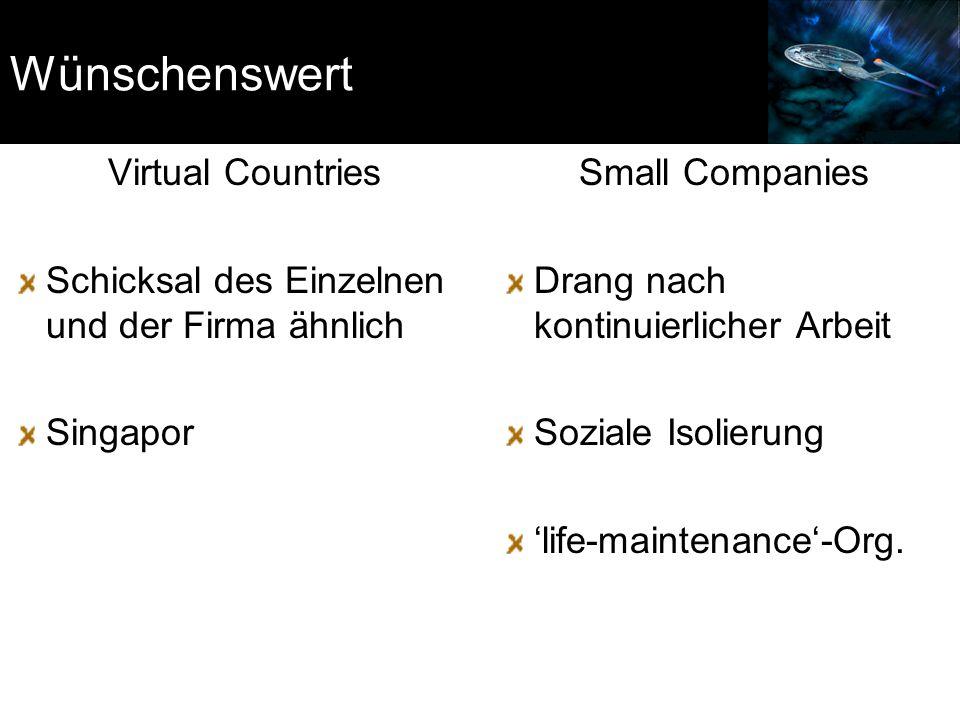 Wünschenswert Virtual Countries Schicksal des Einzelnen und der Firma ähnlich Singapor Small Companies Drang nach kontinuierlicher Arbeit Soziale Isol
