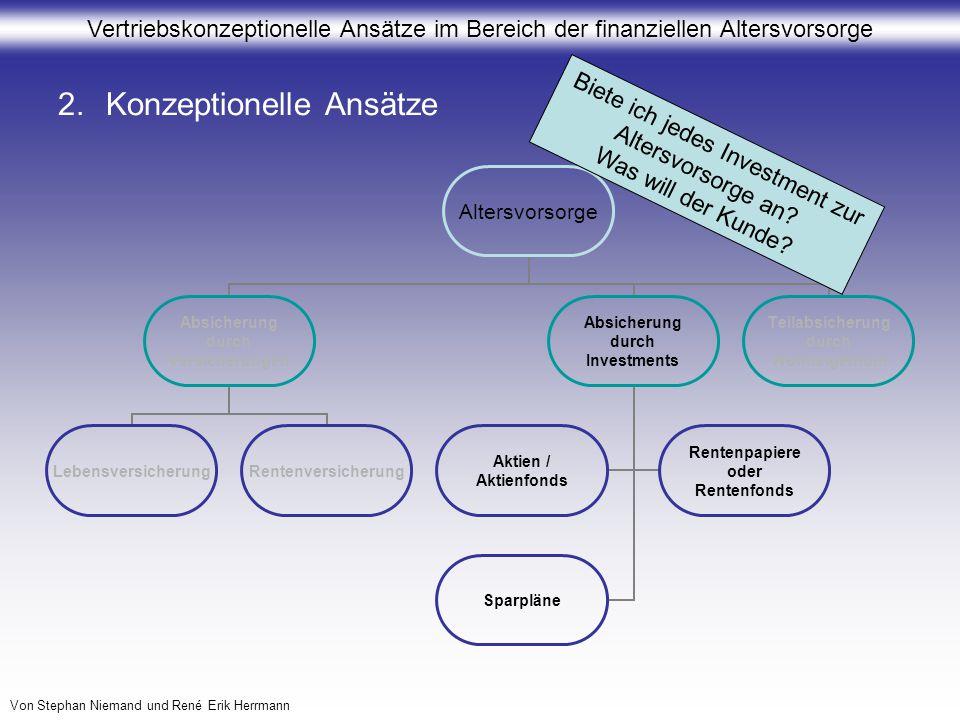 Vertriebskonzeptionelle Ansätze im Bereich der finanziellen Altersvorsorge Von Stephan Niemand und René Erik Herrmann 2.Konzeptionelle Ansätze Altersv