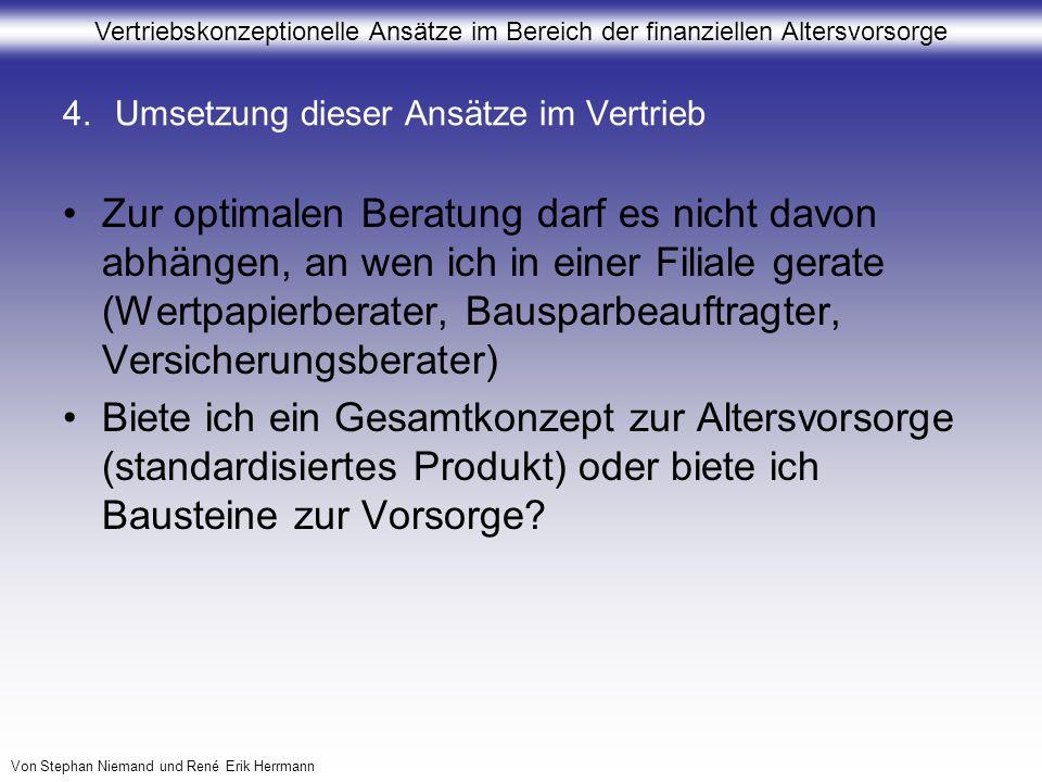 Vertriebskonzeptionelle Ansätze im Bereich der finanziellen Altersvorsorge Von Stephan Niemand und René Erik Herrmann 4.Umsetzung dieser Ansätze im Ve