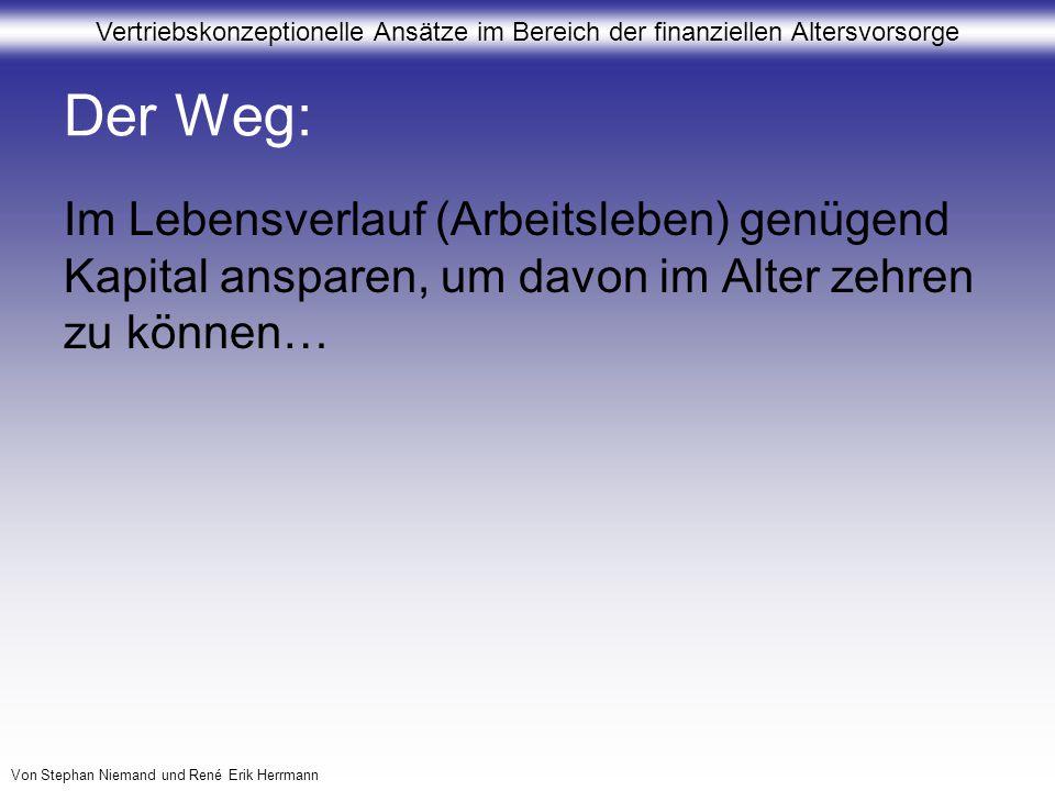 Vertriebskonzeptionelle Ansätze im Bereich der finanziellen Altersvorsorge Von Stephan Niemand und René Erik Herrmann 4.Umsetzung dieser Ansätze im Vertrieb Zur optimalen Beratung darf es nicht davon abhängen, an wen ich in einer Filiale gerate (Wertpapierberater, Bausparbeauftragter, Versicherungsberater) Biete ich ein Gesamtkonzept zur Altersvorsorge (standardisiertes Produkt) oder biete ich Bausteine zur Vorsorge?