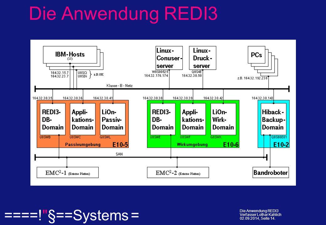 ====! §==Systems = Die Anwendung REDI3 Verfasser Lothar Kahlich 02.09.2014, Seite 14.