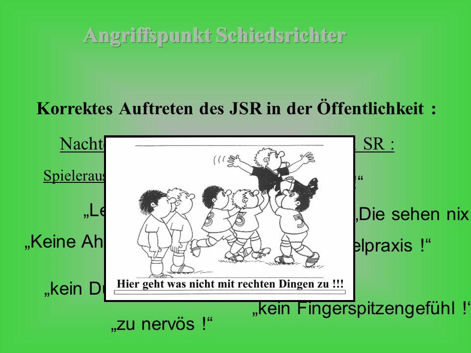 """Nachteile """"der JSR gegenüber Senioren SR : Korrektes Auftreten des JSR in der Öffentlichkeit : """"Keine Ahnung ! """"Nicht genügend Spielpraxis ! """"Leicht zu beeinflussen ! """"Zu jung ! Spieleraussagen: (A-Jgd.) """"kein Durchsetzungsvermögen ! """"Die sehen nix ! """"zu nervös ! """"kein Fingerspitzengefühl !"""