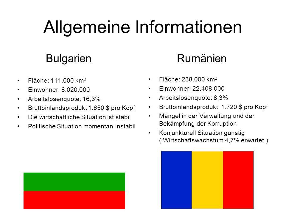 Allgemeine Informationen Bulgarien Fläche: 111.000 km 2 Einwohner: 8.020.000 Arbeitslosenquote: 16,3% Bruttoinlandsprodukt 1.650 $ pro Kopf Die wirtschaftliche Situation ist stabil Politische Situation momentan instabil Rumänien Fläche: 238.000 km 2 Einwohner: 22.408.000 Arbeitslosenquote: 8,3% Bruttoinlandsprodukt: 1.720 $ pro Kopf Mängel in der Verwaltung und der Bekämpfung der Korruption Konjunkturell Situation günstig ( Wirtschaftswachstum 4,7% erwartet )
