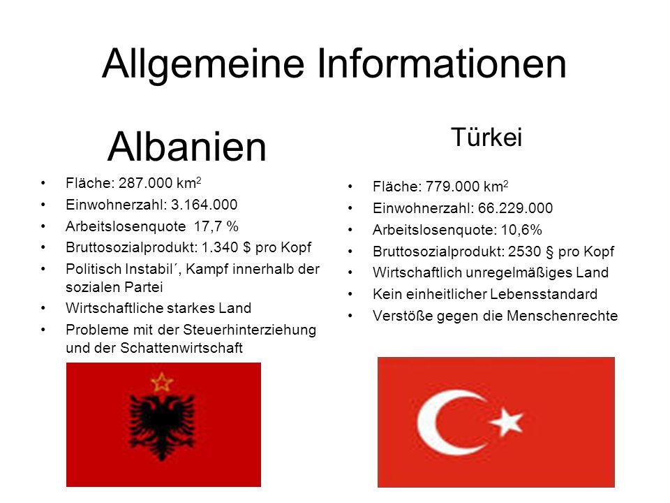 Allgemeine Informationen Albanien Fläche: 287.000 km 2 Einwohnerzahl: 3.164.000 Arbeitslosenquote 17,7 % Bruttosozialprodukt: 1.340 $ pro Kopf Politisch Instabil´, Kampf innerhalb der sozialen Partei Wirtschaftliche starkes Land Probleme mit der Steuerhinterziehung und der Schattenwirtschaft Türkei Fläche: 779.000 km 2 Einwohnerzahl: 66.229.000 Arbeitslosenquote: 10,6% Bruttosozialprodukt: 2530 § pro Kopf Wirtschaftlich unregelmäßiges Land Kein einheitlicher Lebensstandard Verstöße gegen die Menschenrechte