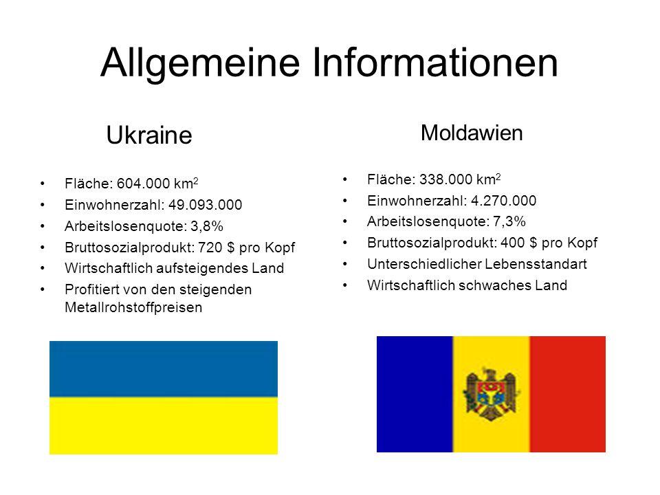Allgemeine Informationen Ukraine Fläche: 604.000 km 2 Einwohnerzahl: 49.093.000 Arbeitslosenquote: 3,8% Bruttosozialprodukt: 720 $ pro Kopf Wirtschaftlich aufsteigendes Land Profitiert von den steigenden Metallrohstoffpreisen Moldawien Fläche: 338.000 km 2 Einwohnerzahl: 4.270.000 Arbeitslosenquote: 7,3% Bruttosozialprodukt: 400 $ pro Kopf Unterschiedlicher Lebensstandart Wirtschaftlich schwaches Land