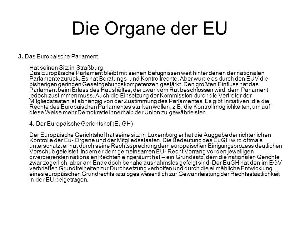 Die Organe der EU 3. Das Europäische Parlament Hat seinen Sitz in Straßburg. Das Europäische Parlament bleibt mit seinen Befugnissen weit hinter denen