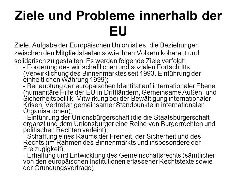 Ziele und Probleme innerhalb der EU Ziele: Aufgabe der Europäischen Union ist es, die Beziehungen zwischen den Mitgliedstaaten sowie ihren Völkern koh