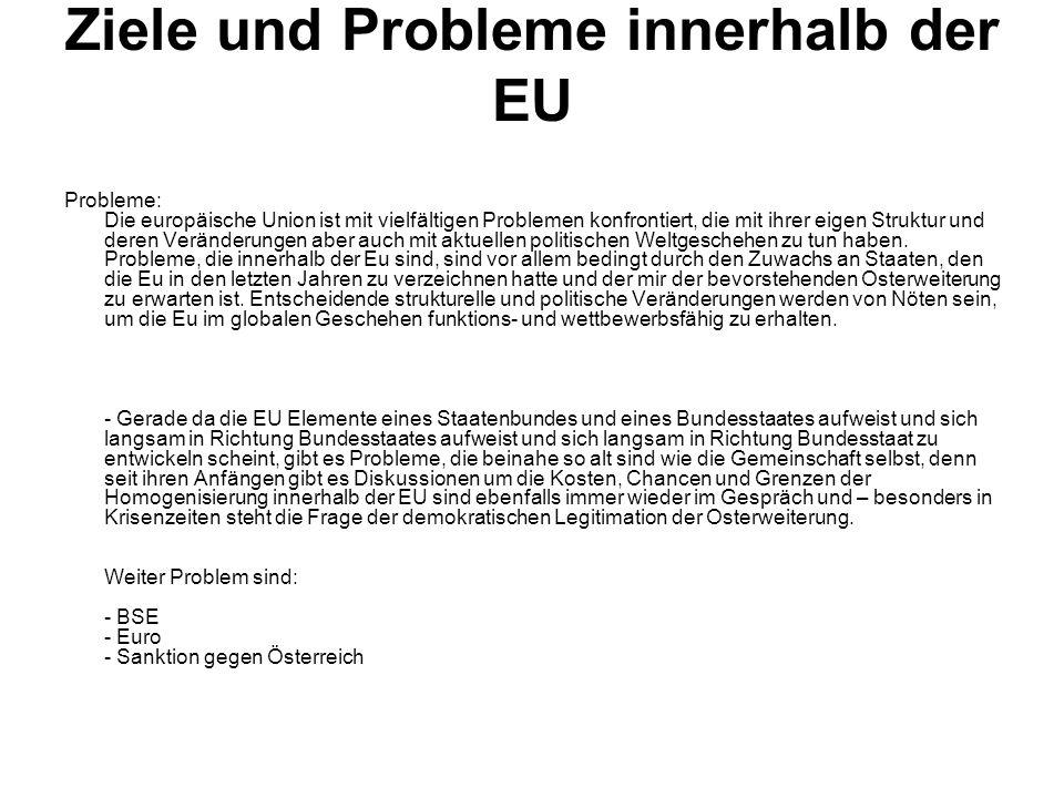 Ziele und Probleme innerhalb der EU Probleme: Die europäische Union ist mit vielfältigen Problemen konfrontiert, die mit ihrer eigen Struktur und dere