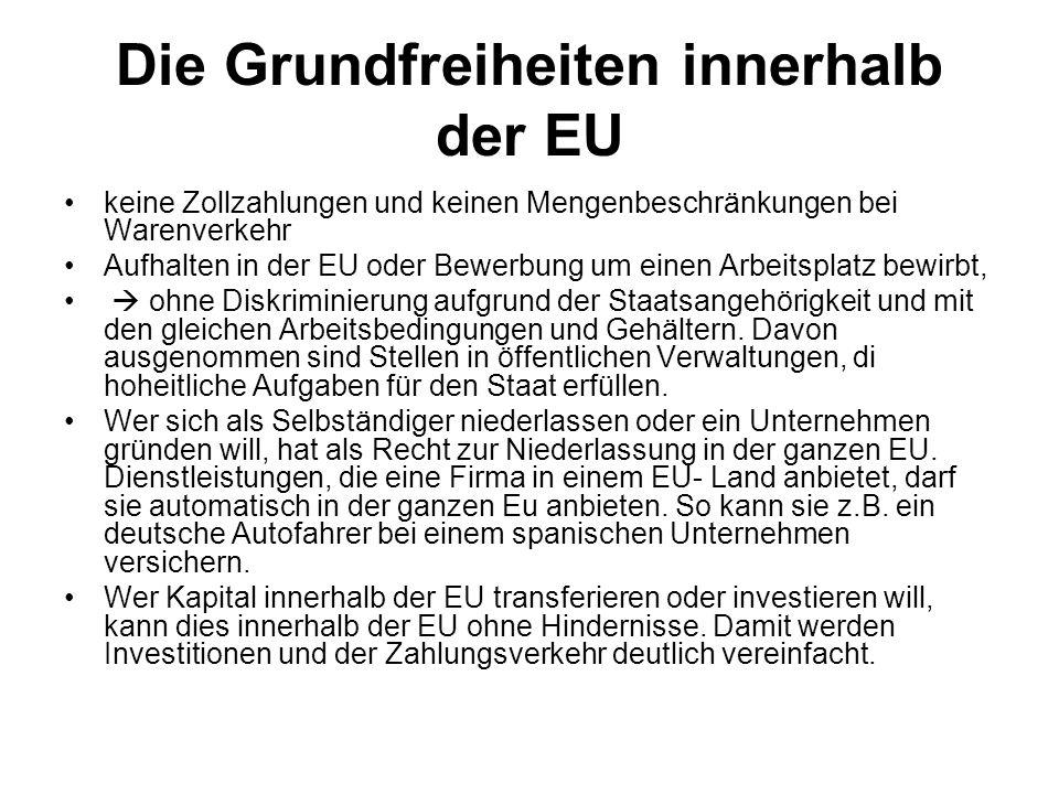 Die Grundfreiheiten innerhalb der EU keine Zollzahlungen und keinen Mengenbeschränkungen bei Warenverkehr Aufhalten in der EU oder Bewerbung um einen