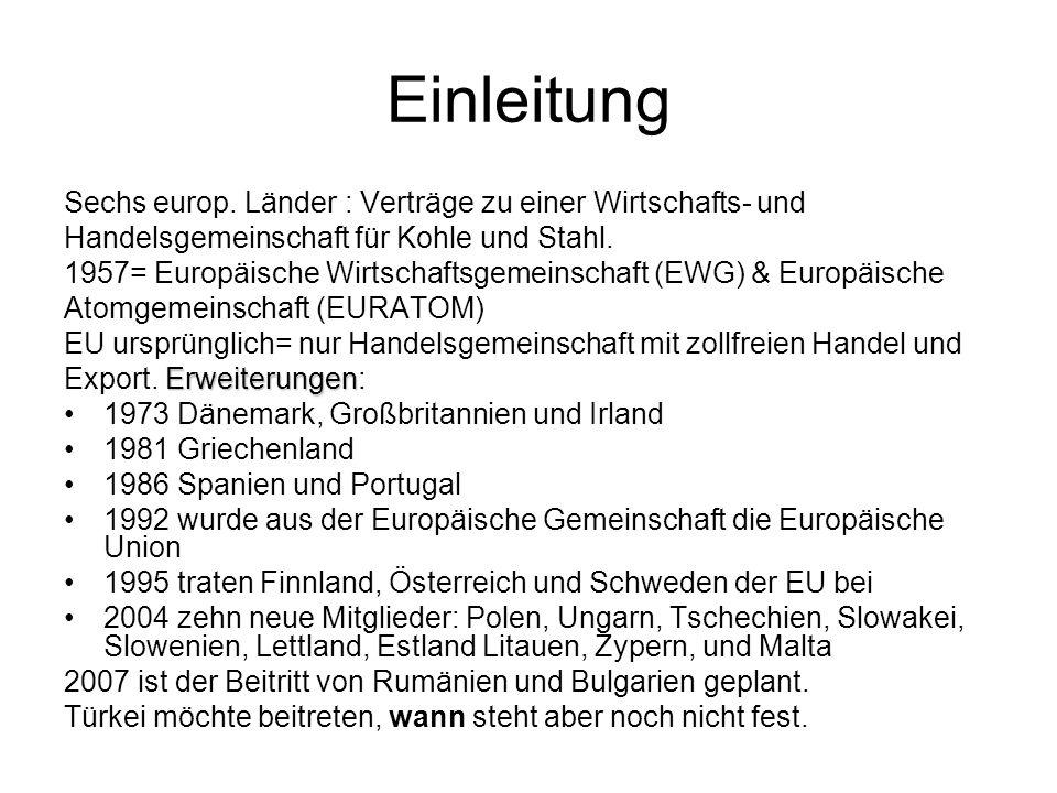 Einleitung Sechs europ. Länder : Verträge zu einer Wirtschafts- und Handelsgemeinschaft für Kohle und Stahl. 1957= Europäische Wirtschaftsgemeinschaft