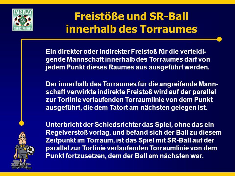 Freistöße und SR-Ball innerhalb des Torraumes Ein direkter oder indirekter Freistoß für die verteidi- gende Mannschaft innerhalb des Torraumes darf vo