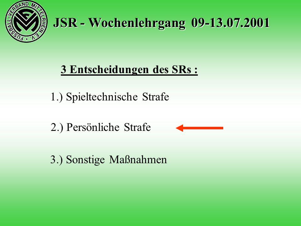 JSR - Wochenlehrgang 09-13.07.2001 3 Entscheidungen des SRs : 1.) Spieltechnische Strafe 2.) Persönliche Strafe 3.) Sonstige Maßnahmen