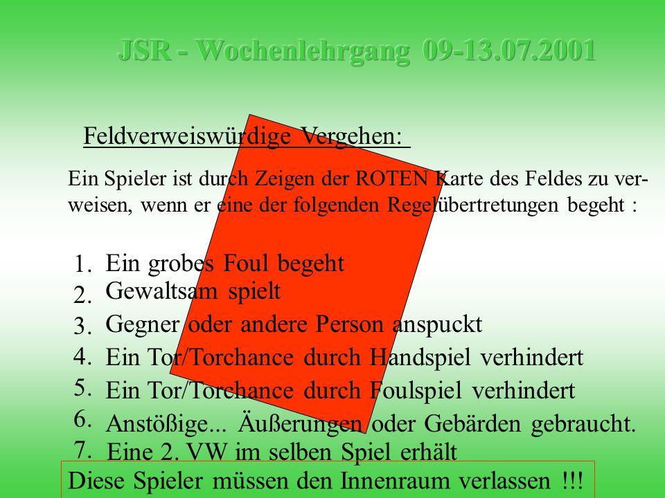 Feldverweiswürdige Vergehen: 1. 2. 3. 4. 5. 6.
