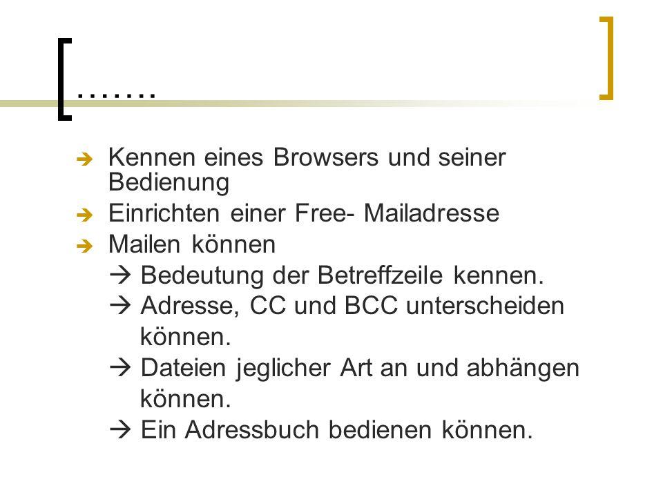 …….  Kennen eines Browsers und seiner Bedienung  Einrichten einer Free- Mailadresse  Mailen können  Bedeutung der Betreffzeile kennen.  Adresse,
