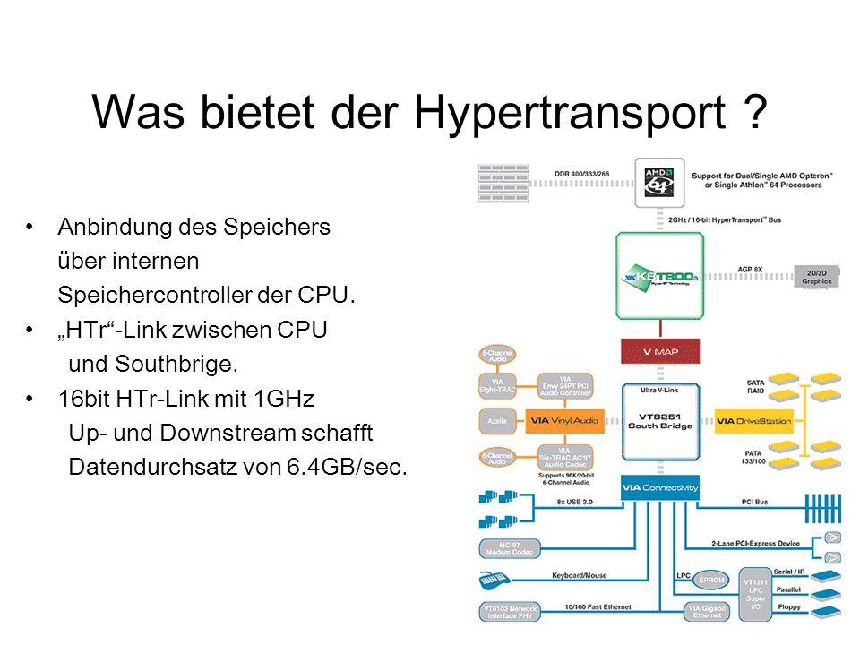 """Was bietet der Hypertransport ? Anbindung des Speichers über internen Speichercontroller der CPU. """"HTr""""-Link zwischen CPU und Southbrige. 16bit HTr-Li"""