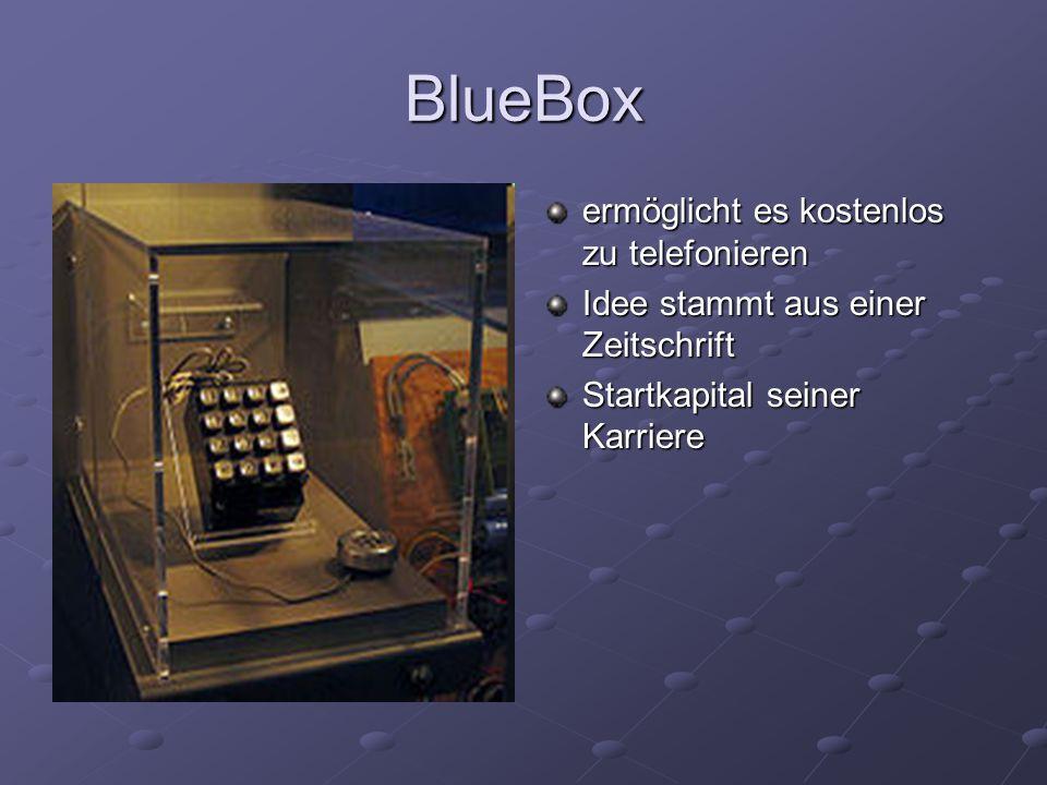 BlueBox ermöglicht es kostenlos zu telefonieren Idee stammt aus einer Zeitschrift Startkapital seiner Karriere