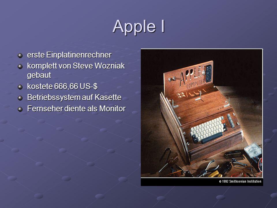 Apple II erste Computer mit Hauptplatine(von Wozniak erfunden) erstmals Diskettenlaufwerke benutzerfreundliche Oberfläche mit Monitor geliefert Anschluss für Joystick oder Gamepad
