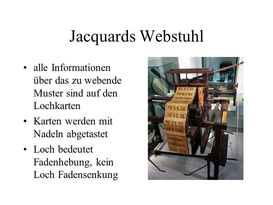 Jacquards Webstuhl alle Informationen über das zu webende Muster sind auf den Lochkarten Karten werden mit Nadeln abgetastet Loch bedeutet Fadenhebung