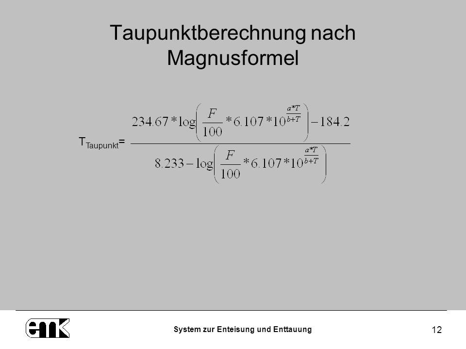 System zur Enteisung und Enttauung 12 Taupunktberechnung nach Magnusformel T Taupunkt =
