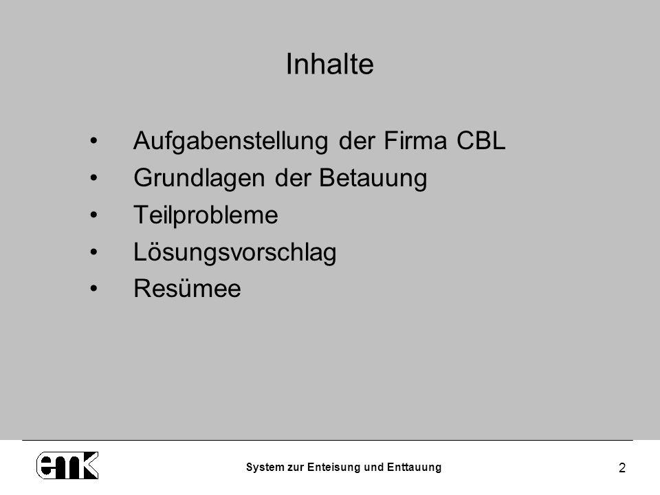 System zur Enteisung und Enttauung 2 Inhalte Aufgabenstellung der Firma CBL Grundlagen der Betauung Teilprobleme Lösungsvorschlag Resümee