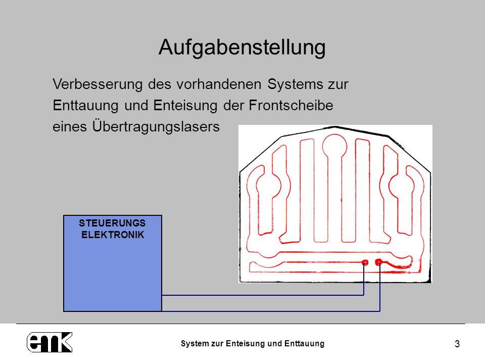 System zur Enteisung und Enttauung 3 Aufgabenstellung STEUERUNGS ELEKTRONIK Verbesserung des vorhandenen Systems zur Enttauung und Enteisung der Front