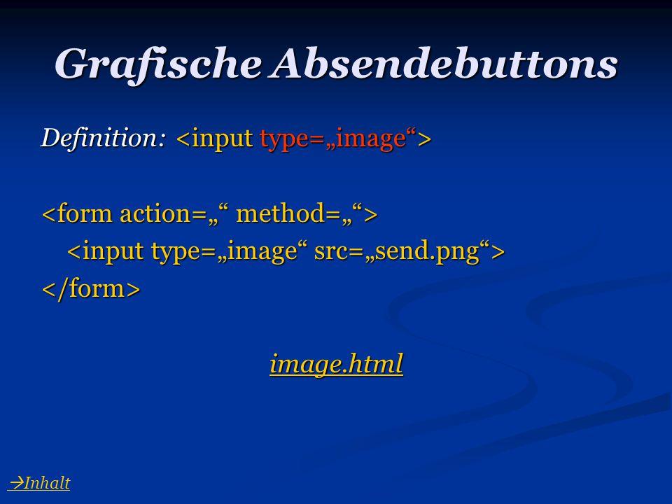 Grafische Absendebuttons Definition: Definition: </form> image.html  Inhalt