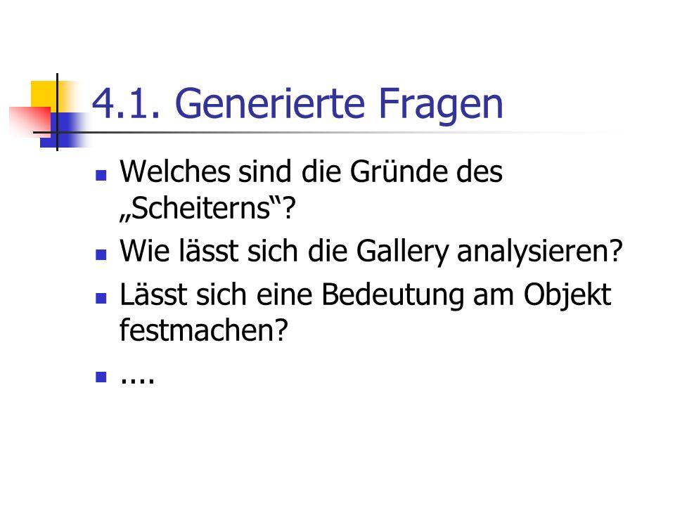 """4.1.Generierte Fragen Welches sind die Gründe des """"Scheiterns ."""
