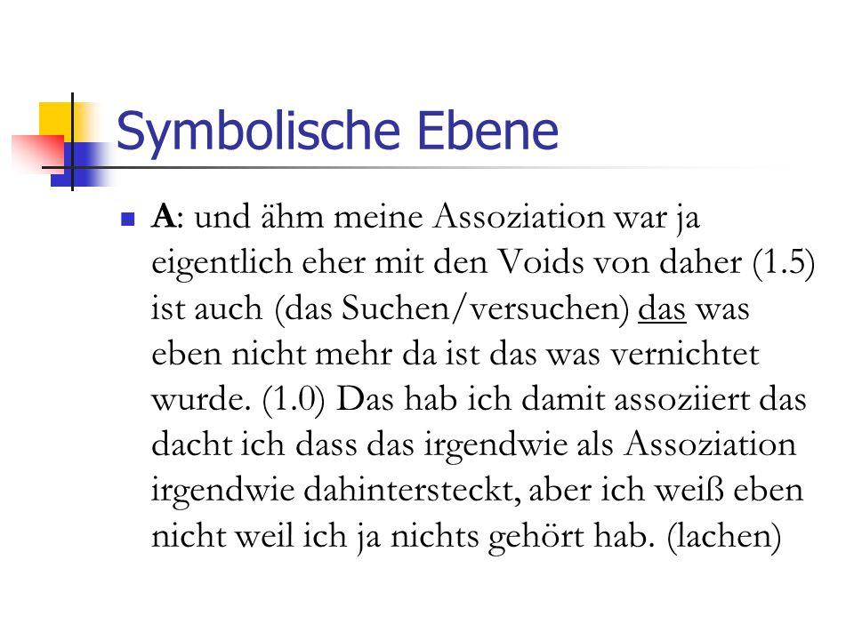 Symbolische Ebene A: und ähm meine Assoziation war ja eigentlich eher mit den Voids von daher (1.5) ist auch (das Suchen/versuchen) das was eben nicht mehr da ist das was vernichtet wurde.