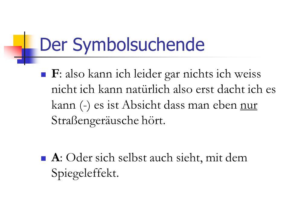 Der Symbolsuchende F: also kann ich leider gar nichts ich weiss nicht ich kann natürlich also erst dacht ich es kann (-) es ist Absicht dass man eben nur Straßengeräusche hört.