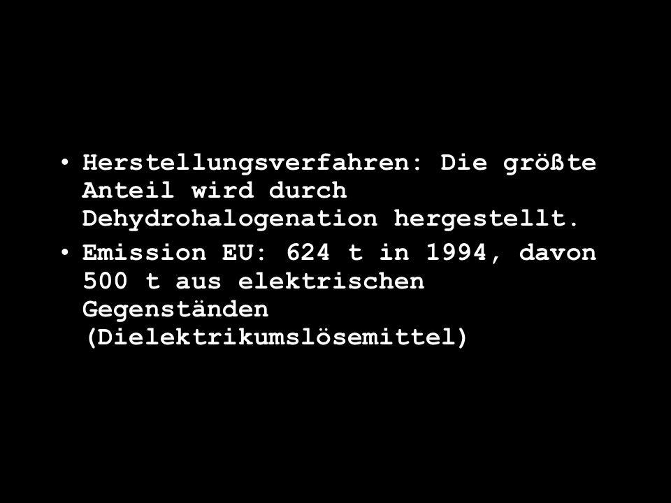 Herstellungsverfahren: Die größte Anteil wird durch Dehydrohalogenation hergestellt. Emission EU: 624 t in 1994, davon 500 t aus elektrischen Gegenstä