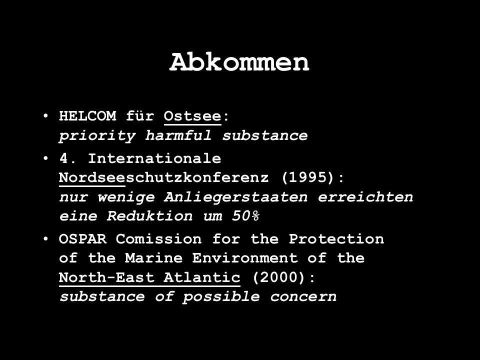 Abkommen HELCOM für Ostsee: priority harmful substance 4. Internationale Nordseeschutzkonferenz (1995): nur wenige Anliegerstaaten erreichten eine Red