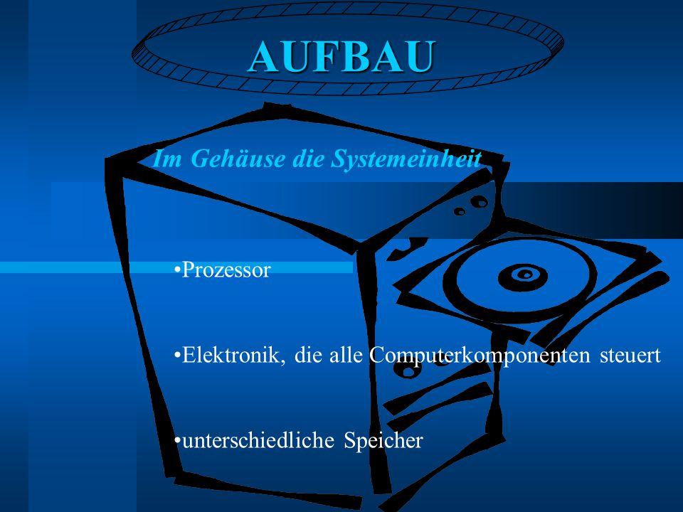 AUFBAU Im Gehäuse die Systemeinheit Prozessor Elektronik, die alle Computerkomponenten steuert unterschiedliche Speicher