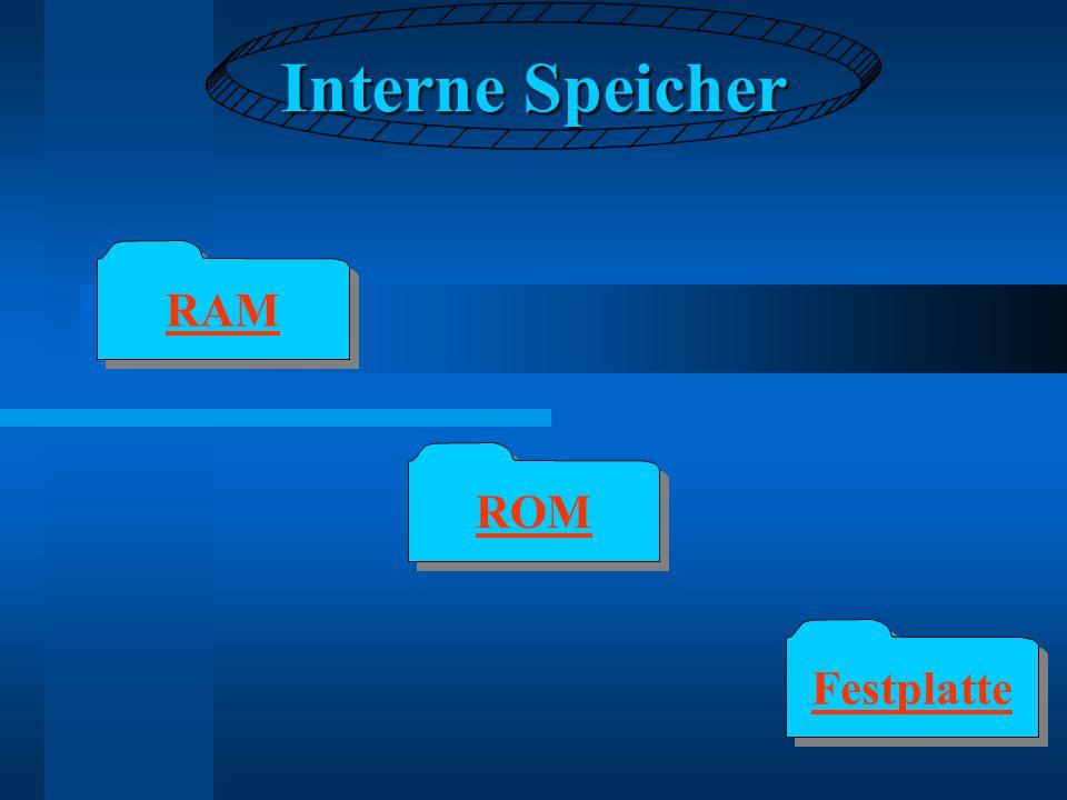 Interne Speicher RAM ROM Festplatte
