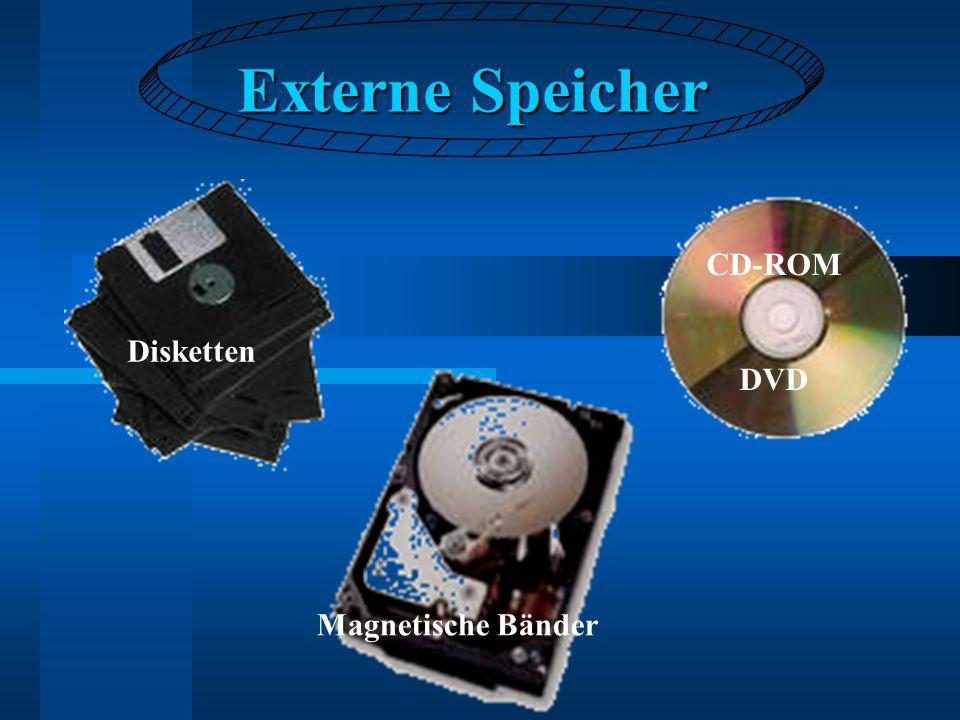 Externe Speicher Disketten CD-ROM DVD Magnetische Bänder